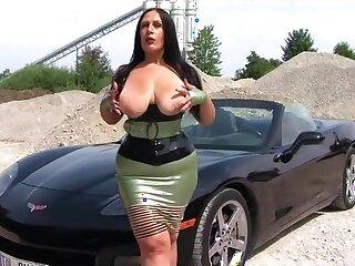Well-endowed Corvette Babe - Latex Open-air Blowjob Handjob - Cum on my Chest