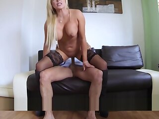 Chubby ass blonde rides British agents cock