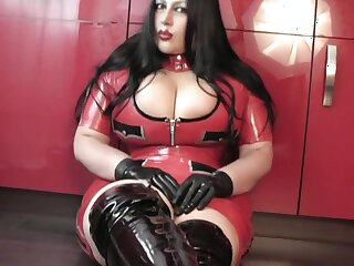 Scullery Blowjob Handjob with Latex Gloves - Foetus dressed alongside latex perpetual Boots - Cum alongside my Mouth
