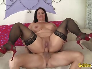 Hot and horny old woman Leylani Wood  bouncing on stiff and thick dicks with cowgirl