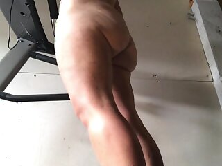Our girlfriend does every morning a naked workout on our lodging trainer