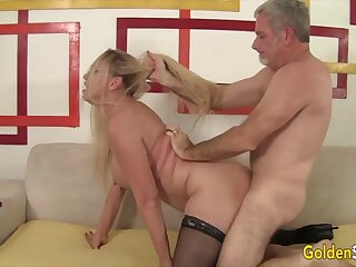 Mature blonde women cognizant their old pussies getting reamed away from hard dicks in many positions