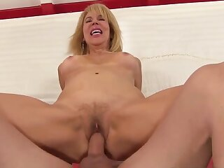 Horny blonde grandma Erica Lauren bounces on  cocks back to front cowgirl