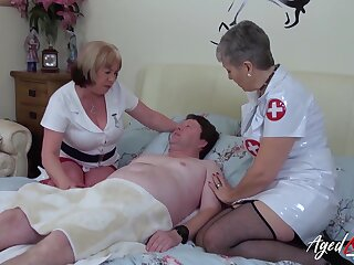Unpredictable intensify nurses enjoying hardcore copulation with blowjob and cum