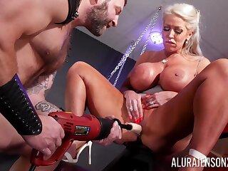 Adult pornstar Alura Jenson with titanic fake breasts having sexual relations