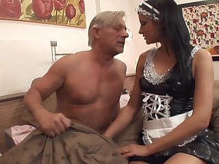 Old vs young porn with a full-grown dude and attractive Abbie Cat