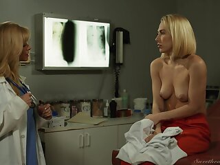 Verronica Kirei licks trimmed pussy of Quieten Panic on a hospital bed