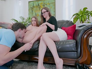 Beamy ass mom helps lass with this generous penis