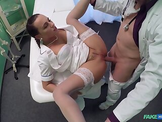 Aroused babe takes rosiness nigh both holes by way of a doctor's exam
