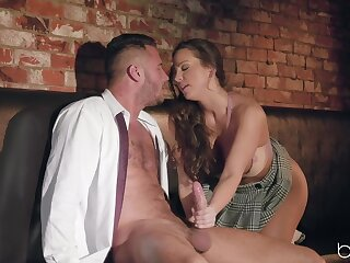Nude woman gives handjob before a abandoned shag on cam