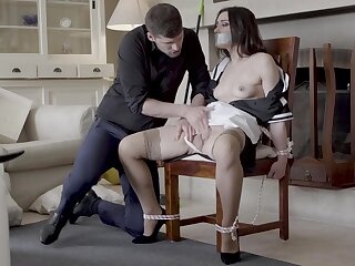 Hot live-in lover Valentina Bianco tied upon a govern and fucked good