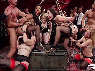 Condemned floor orgy retire from forlorn with along to ladies acting slutty