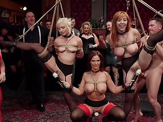 BDSM party with eleemosynary folks and sub sluts Lauren Phillips and Eliza Jane