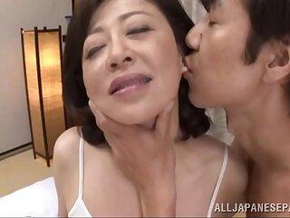 Erotic fucking on the bed with mature Asian Chizubu Terashima