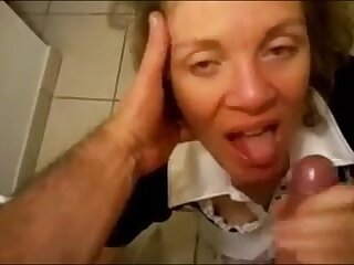 Granny above their way knees handjob and facial