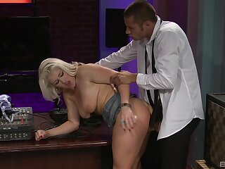 MILF fucked at the office and made to cream her tits with jizz