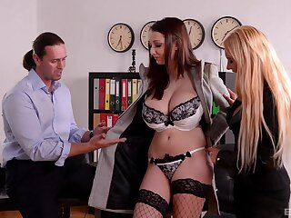 Full orgasms for these classy office MILFs during a wild trio