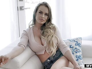 Sexy big breasted alone lassie Corinna Blake shows in any event on every side use a dildo