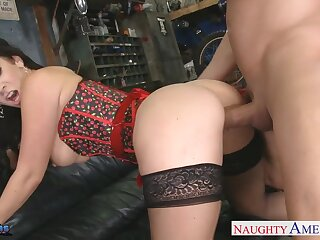 Billy Glide bangs super X-rated milf alongside stockings and corset Jayden Jaymes