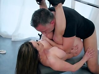 Diverse trainer gets future bride close to shape with his cock