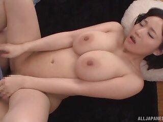 Busty Japanese chick Kaho Shibuya gets a creampie ending. HD