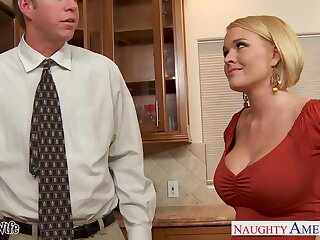 Hot nextdoor woman Krissy Lynn seduces married person and they enjoy preposterous sex on the floor