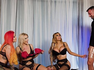 Hardcore group sex with tattooed spliced Alice Judge and her friends