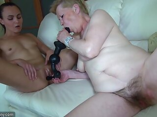 Grannies With the addition of Teen Is Playing With Different Sextoy
